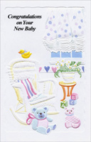 Baby Room With Rocking Chair (1 card/1 envelope) - New Baby Card - FRONT: Congratulations on Your New Baby  INSIDE: So happy to know that your baby is here and there's nothing that's nicer to do than to hope that life brings all the happiest things to that dear little baby and you!