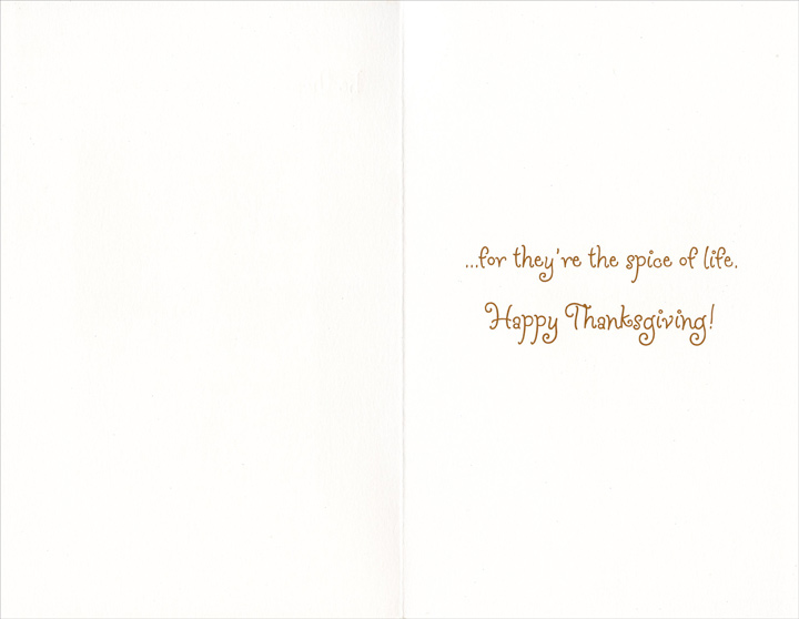 Mice and Pie (1 card/1 envelope) Thanksgiving Card - FRONT: At Thanksgiving be thankful for the little things...  INSIDE: �for they're the spice of life. Happy Thanksgiving!