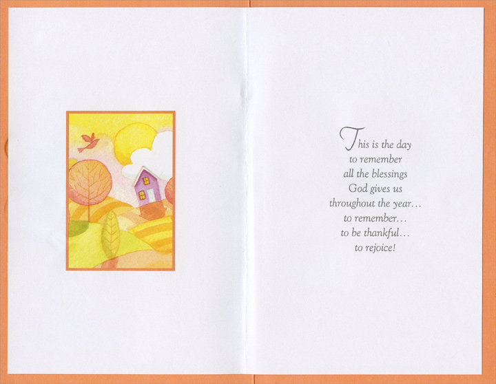 House on Hills (1 card/1 envelope) Imagine Thanksgiving Card - FRONT: Wishing You a Joyful Thanksgiving  INSIDE: This is the day to remember all the blessings God gives us throughout the year... to remember... to be thankful... to rejoice!