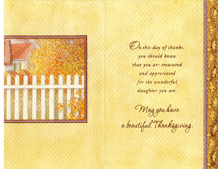 Wreath on Door (1 card/1 envelope) - Thanksgiving Card - FRONT: For Beautiful Daughter with Love on Thanksgiving  INSIDE: On this day of thanks, you should know that you are treasured and appreciated for the wonderful daughter you are. May you have a beautiful Thanksgiving.