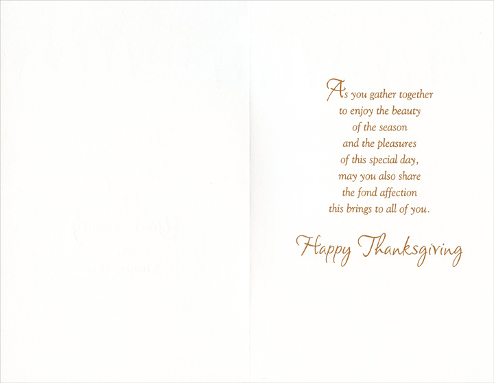 Acorn & Leaves (1 card/1 envelope) Thanksgiving Card - FRONT: For You, Brother, and Your Family at Thanksgiving  INSIDE: As you gather together to enjoy the beauty of the season and the pleasures of this special day, may you also share the fond affection this brings to all of you. Happy Thanksgiving