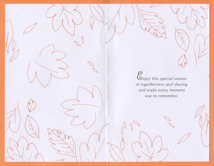 Leaves with Orange Trim (1 card/1 envelope) Imagine Thanksgiving Card - FRONT: For You, Sister at Thanksgiving  INSIDE: Enjoy this special season of togetherness and sharing and make every moment one to remember.