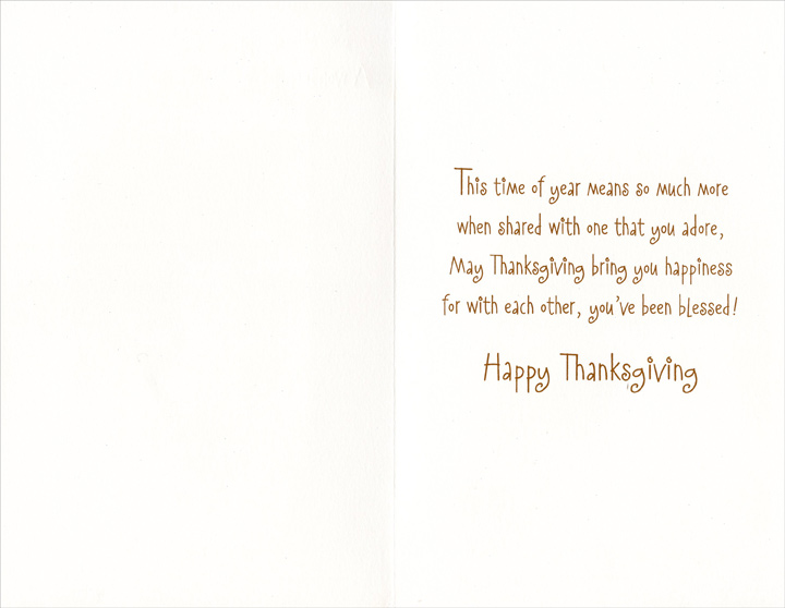 Mice and Pie (1 card/1 envelope) Thanksgiving Card - FRONT: So many things are wished for you -- A wonderful Sister and her Husband, too!  INSIDE: This time of year means so much more when shared with one that you adore, May Thanksgiving bring you happiness for with each other, you've been blessed! Happy Thanksgiving