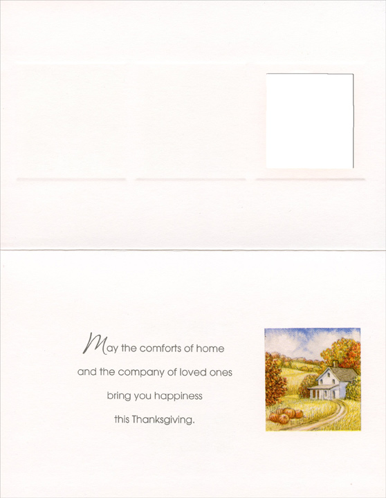 Three Panel Harvest (1 card/1 envelope) Imagine Thanksgiving Card - FRONT: For You, Aunt with Love - Enjoy the simple pleasures of Thanksgiving  INSIDE: May the comforts of home and the company of loved ones bring you happiness this Thanksgiving.