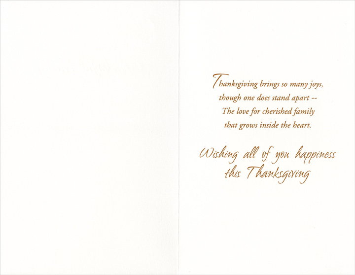 Rowboat (1 card/1 envelope) Thanksgiving Card - FRONT: For a Special Nephew and His Wonderful Family  INSIDE: Thanksgiving brings so many joys, though one does stand apart -- The love for cherished family that grows inside the heart. Wishing all of you happiness this Thanksgiving