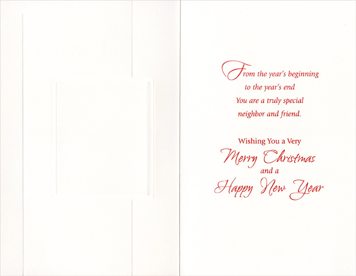 Flowers on Red Pattern: Neighbor (1 card/1 envelope) - Christmas Card - FRONT: Thinking of a Special Neighbor at Christmas  INSIDE: From the year's beginning to the year's end You are a truly special neighbor and friend. Wishing You a Very Merry Christmas and a Happy New Year