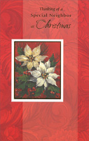 Flowers on Red Pattern: Neighbor (1 card/1 envelope)  Christmas Card