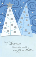 Blue & White Trees (1 card/1 envelope) - Christmas Card