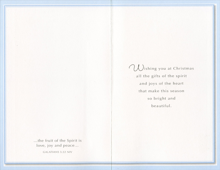Gold Trim Angel (1 card/1 envelope) Christmas Card - FRONT: Love, Joy and Peace At Christmas  INSIDE: Wishing you at Christmas all the gifts of the spirit and joys of the heart that make this season so bright and beautiful. - [Inside Cover] …the fruit of the Spirit is love, joy and peace… GALATIANS 5:22 NIV