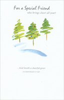 Green Glitter Trees: Friend (1 card/1 envelope)  Christmas Card