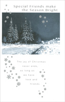 Snow Covered Pines & Road: Friend (1 card/1 envelope) - Christmas Card