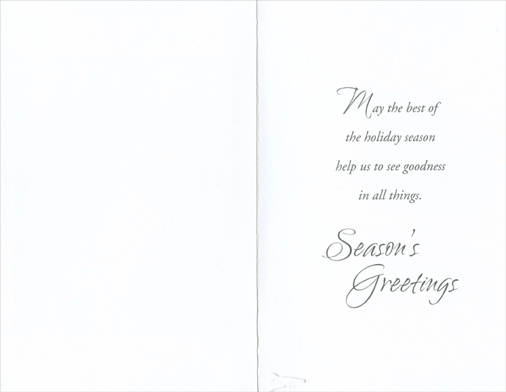 Silver Snowflake on Blue (1 card/1 envelope) Christmas Card - FRONT: The season's magic is all around, in every heart, hope can be found.  INSIDE: May the best of the holiday season help us to see goodness in all things. Season's Greetings