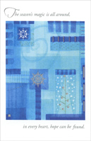 Silver Snowflake on Blue (1 card/1 envelope) - Christmas Card - FRONT: The season's magic is all around, in every heart, hope can be found.  INSIDE: May the best of the holiday season help us to see goodness in all things. Season's Greetings