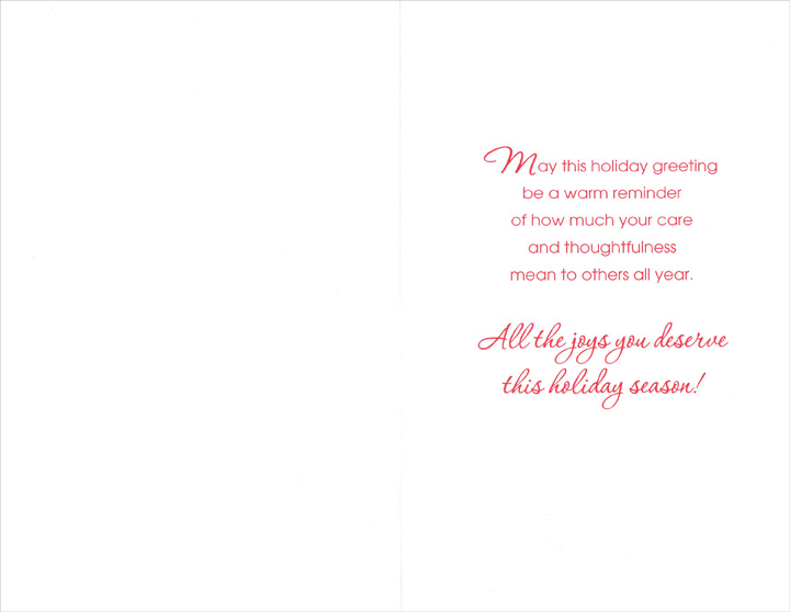 Fruit & Holly: Caregiver (1 card/1 envelope) Christmas Card - FRONT: To a Special Caregiver  INSIDE: May this holiday greeting be a warm reminder of how much your care and thoughtfulness mean to others all year. All the joys you deserve this holiday season!