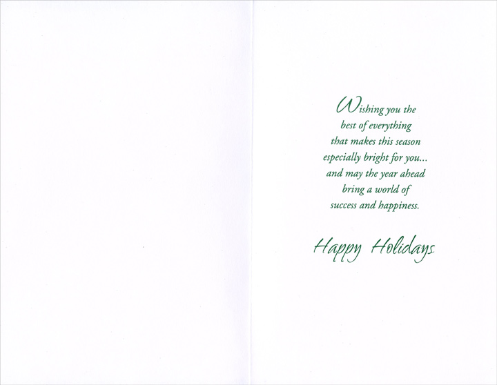 Twinkling Stars: Boss (1 card/1 envelope) Christmas Card - FRONT: Holiday Wishes for a Wonderful Boss  INSIDE: Wishing you the best of everything that makes this season especially bright for you� and may the year ahead bring a world of success and happiness. Happy Holidays