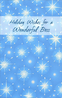 Twinkling Stars: Boss (1 card/1 envelope) - Christmas Card - FRONT: Holiday Wishes for a Wonderful Boss  INSIDE: Wishing you the best of everything that makes this season especially bright for you� and may the year ahead bring a world of success and happiness. Happy Holidays