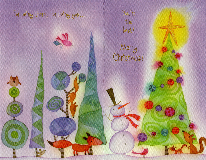 Tall Trees on Purple Sky: Dad (1 card/1 envelope) Christmas Card - FRONT: With Love, Dad� For all you've done, for all you do�  INSIDE: For being there, For being you� You're the best! Merry Christmas!