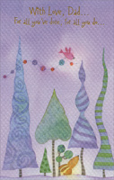 Tall Trees on Purple Sky: Dad (1 card/1 envelope)  Christmas Card