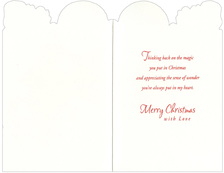 Santa & Polar Bears: Mom & Dad (1 card/1 envelope) - Christmas Card - FRONT: To Mom and Dad at Christmas  INSIDE: Thinking back on the magic you put in Christmas and appreciating the sense of wonder you've always put in my heart. Merry Christmas with Love