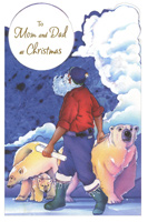 Santa & Polar Bears: Mom & Dad (1 card/1 envelope) - Christmas Card
