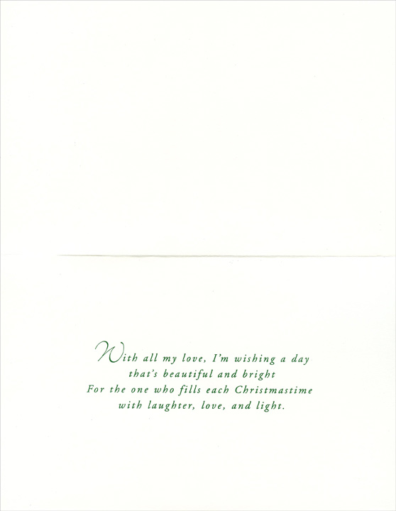 Soft Hue Stockings: Wife (1 card/1 envelope) Christmas Card - FRONT: To My Wonderful Wife, who fills every Christmas with joy…  INSIDE: With all my love, I'm wishing a day that's beautiful and bright For the one who fills each Christmastime with laughter, love, and light.