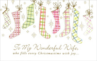 Soft Hue Stockings: Wife (1 card/1 envelope) - Christmas Card