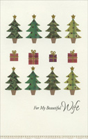 Rows of Trees & Gifts: Wife (1 card/1 envelope) - Christmas Card