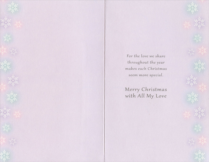 Blue, Pink, and Purple Ornaments: Wife (1 card/1 envelope) Christmas Card - FRONT: To My Beautiful Wife - The sweetest part of Christmas is having you close by my side�  INSIDE: For the love we share throughout the year makes each Christmas seem more special. Merry Christmas with All My Love