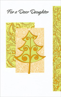 Light Green Tree with Gold: Daughter (1 card/1 envelope)  Christmas Card