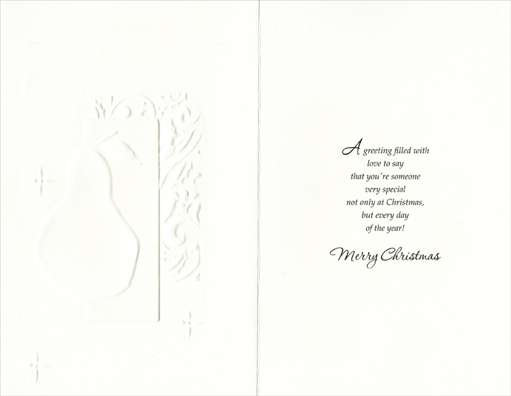 Pear on Gold Vine Background: Daughter (1 card/1 envelope) Christmas Card - FRONT: Merry Christmas to a Wonderful Daughter  INSIDE: A greeting filled with love to say that you're someone very special not only at Christmas, but every day of the year! Merry Christmas