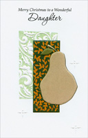 Pear on Gold Vine Background: Daughter (1 card/1 envelope) - Christmas Card