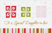 White Ribbon on 3 Gifts: Daughter-in-Law (1 card/1 envelope)  Christmas Card