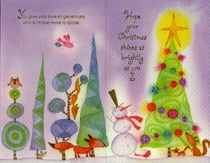 Textured Trees on Purple: Daughter (1 card/1 envelope) Christmas Card - FRONT: To Daughter and Her Husband you're such a special pair�  INSIDE: You give your love so generously and still have more to spare. Hope your Christmas shines as brightly as you do