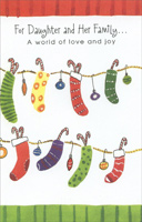 Candy Canes & Stockings: Daughter (1 card/1 envelope) - Christmas Card