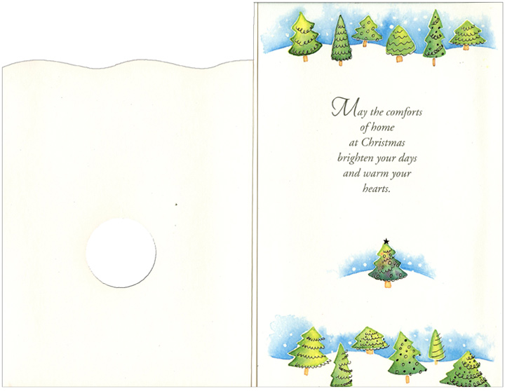 Circle Ornament with Tree: Daughter (1 card/1 envelope) Christmas Card - FRONT: For a Special Daughter and her Family  INSIDE: May the comforts of home at Christmas brighten your days and warm your hearts.