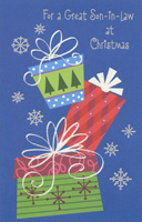 Glitter Bows on Presents: Son-in-Law (1 card/1 envelope)  Christmas Card