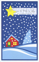 Yellow Star & Snowfall: Son (1 card/1 envelope)  Christmas Card