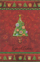 Tree with Gold Tinsel: Sister (1 card/1 envelope)  Christmas Card