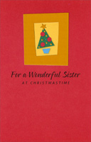 Small Tree in Gold Frame: Sister (1 card/1 envelope) - Christmas Card