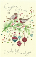 Birds on Branches: Sister (1 card/1 envelope)  Christmas Card