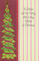 Thin Christmas Tree: Sister (1 card/1 envelope) - Christmas Card