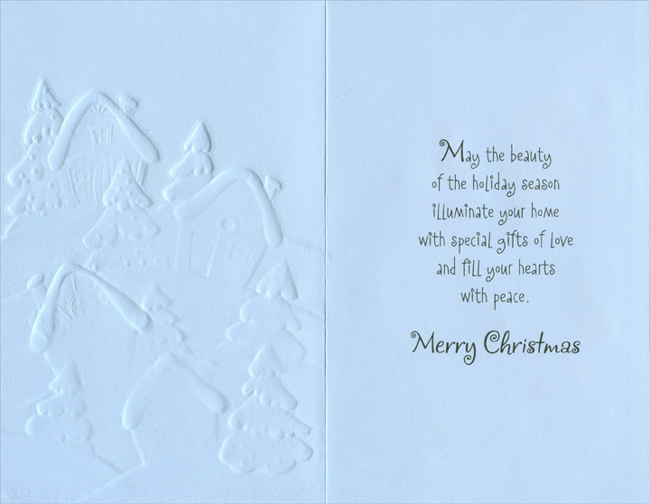 Homes on Snowy Hill: Sister (1 card/1 envelope) - Christmas Card - FRONT: Holiday Wishes to Sister & Her Family  INSIDE: May the beauty of the holiday season illuminate your home with special gifts of love and fill your hearts with peace. Merry Christmas