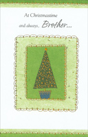 Tree with Gold Swirl Borders: Brother (1 card/1 envelope)  Christmas Card