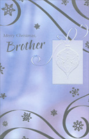 White Embossed Ornament: Brother (1 card/1 envelope)  Christmas Card
