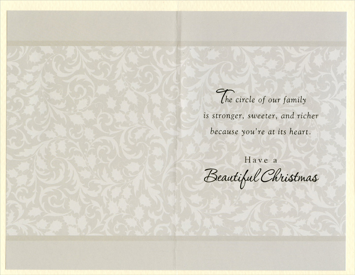 Wreath on Door: Grandmother (1 card/1 envelope) Christmas Card - FRONT: To a Grandmother who's such a lovely part of all our memories�  INSIDE: The circle of our family is stronger, sweeter, and richer because you're at its heart. Have a Beautiful Christmas