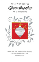 Silver Ornament in Red Square: Grandmother (1 card/1 envelope) - Christmas Card
