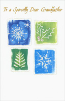 Snowflakes, Holly & Tree Panels: Grandfather (1 card/1 envelope)  Christmas Card