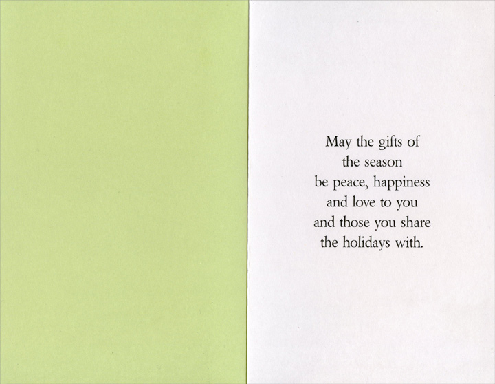 Pair of White Flowers: Granddaughter (1 card/1 envelope) Christmas Card - FRONT: It's Christmas, Granddaughter!  INSIDE: May the gifts of the season be peace, happiness and love to you and those you share the holidays with.