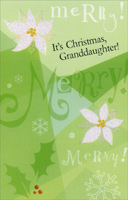 Pair of White Flowers: Granddaughter (1 card/1 envelope) - Christmas Card