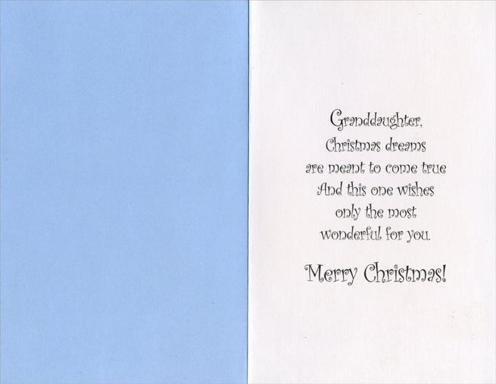 Small Winter Village: Granddaughter (1 card/1 envelope) Christmas Card - FRONT: For You, Granddaughter at Christmas  INSIDE: Granddaughter, Christmas dreams are meant to come true And this one wishes only the most wonderful for you. Merry Christmas!